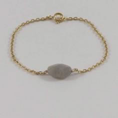 Bracelet chaine plaqué or pierre Labradorite ovale facettée