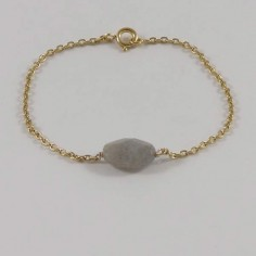 Chain bracelet gold plated oval faceted labradorite