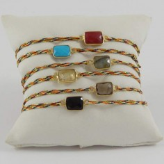 Cord bracelet silver gilt right angled stone