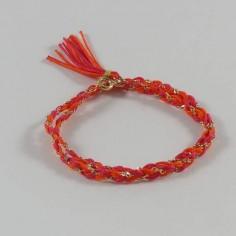 Bracelet 2 Rangs tressés chaine plaqaué or bicolore