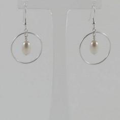 Boucles d'oreilles Anneaux argent perle blanche