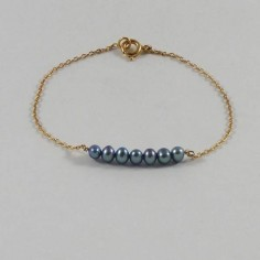Chain bracelet gold plated light blue freshwater pearls bar
