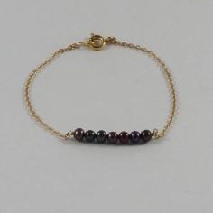 Bracelet chaine plaqué or Barrette perles d'eau douce noire