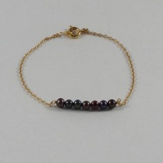 Chain bracelet gold plated black freshwater pearls bar