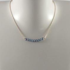 Collier chaine plaqué or Barrette perles d'eau douce bleu irisé