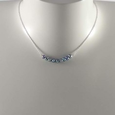 Light blue freshwater pearls bar chain necklace silver 925