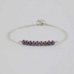 Bracelet chaine argent Barrette perles d'eau douce noires