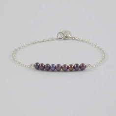 Chain bracelet silver 925 black freshwater pearls bar