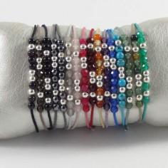 Bracelet cordon 11 petites pierres perles