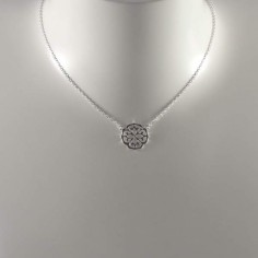 Small baroque flower chain necklace silver 925