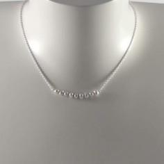 Collier chaine argent Barrette perles d'eau douce grises claires