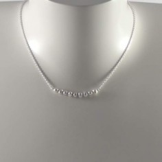 Light grey freshwater pearls bar chain necklace silver 925
