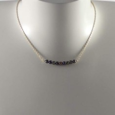 Black freshwater pearls bar chain necklace silver 925