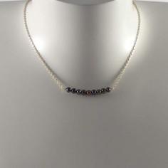 Collier chaine argent Barrette perles d'eau douce noires