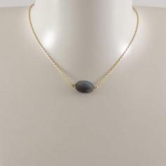 Collier chaine plaqué or Labradorite ovale facetée