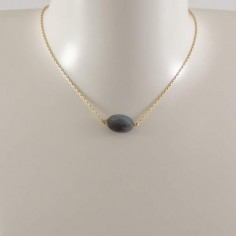 Oval faceted labradorite stone chain necklace gold plated