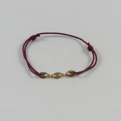 Cord bracelet gold plated three coffee beans