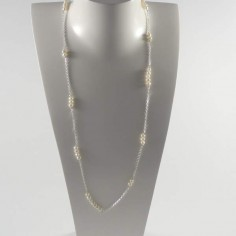 Long chain necklace silver 925 white freshwater pearls bar