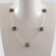 Five labradorite stones chain necklace silver 925