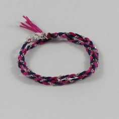 Bracelet 2 Rangs tressés chaine argent bicolor