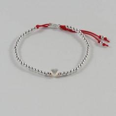 Bracelet Elise mini perles argent fermoir et coeur nacre blanche