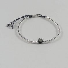 Bracelet Elise mini perles argent fermoir et coeur nacre grise