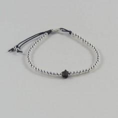 Bracelet Elise mini perles argent fermoir et étoile nacre grise