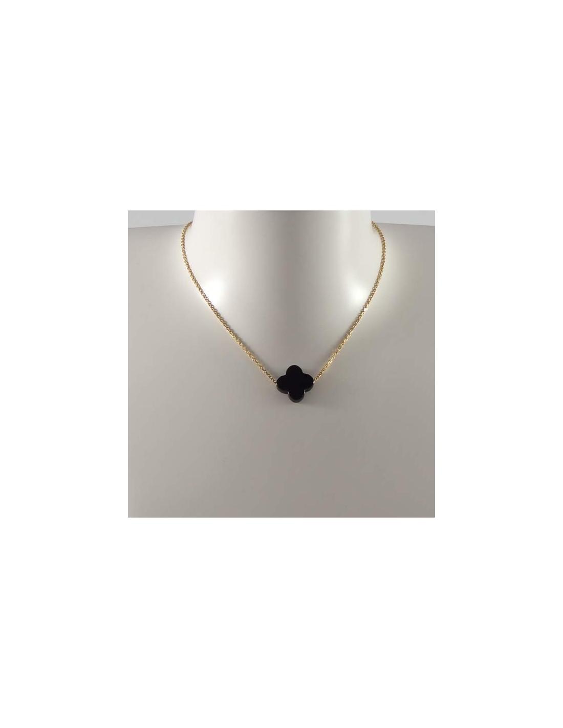 collier chaine plaqu or croix onyx. Black Bedroom Furniture Sets. Home Design Ideas