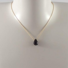 Faceted onyx drop chain necklace gold plated