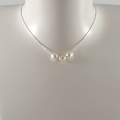 Three white freshwater pearls chain necklace silver 925