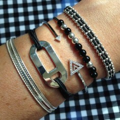 Bracelet cordon motif oval huit argent