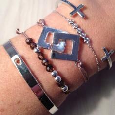 Bracelet cordon Menottes carrées argent