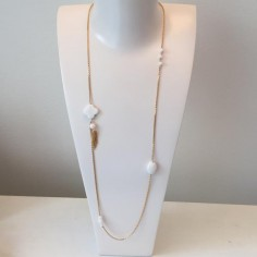 Long chain necklace gold plated white agate stones
