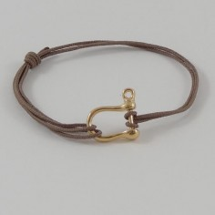 Man gold plated medium shackle cord bracelet