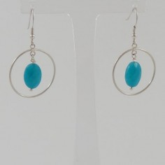 Turquoise jade ovals in rings earrings silver 925