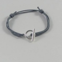 Child silver 925 small toggle cord bracelet