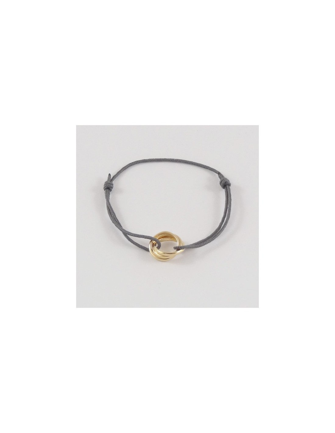 Child gold plated three small rings cord bracelet