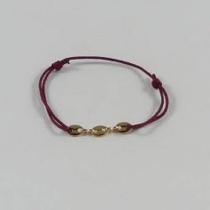 Bracelet cordon 3 petits Grains de café plaqué or