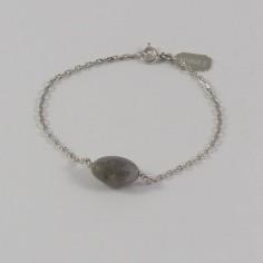 Bracelet chaine argent pierre Labradorite ovale facettée