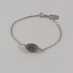 Chain bracelet silver 925 oval faceted labradorite