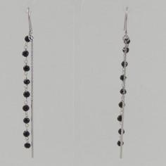 Boucles d'oreilles chainettes tiges argent pierres onyx