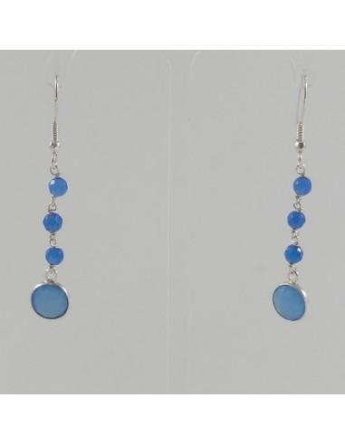 Boucles d'oreilles argent pierres jade bleues