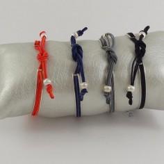 Bracelet Jonc plat argent cordon 3 fils