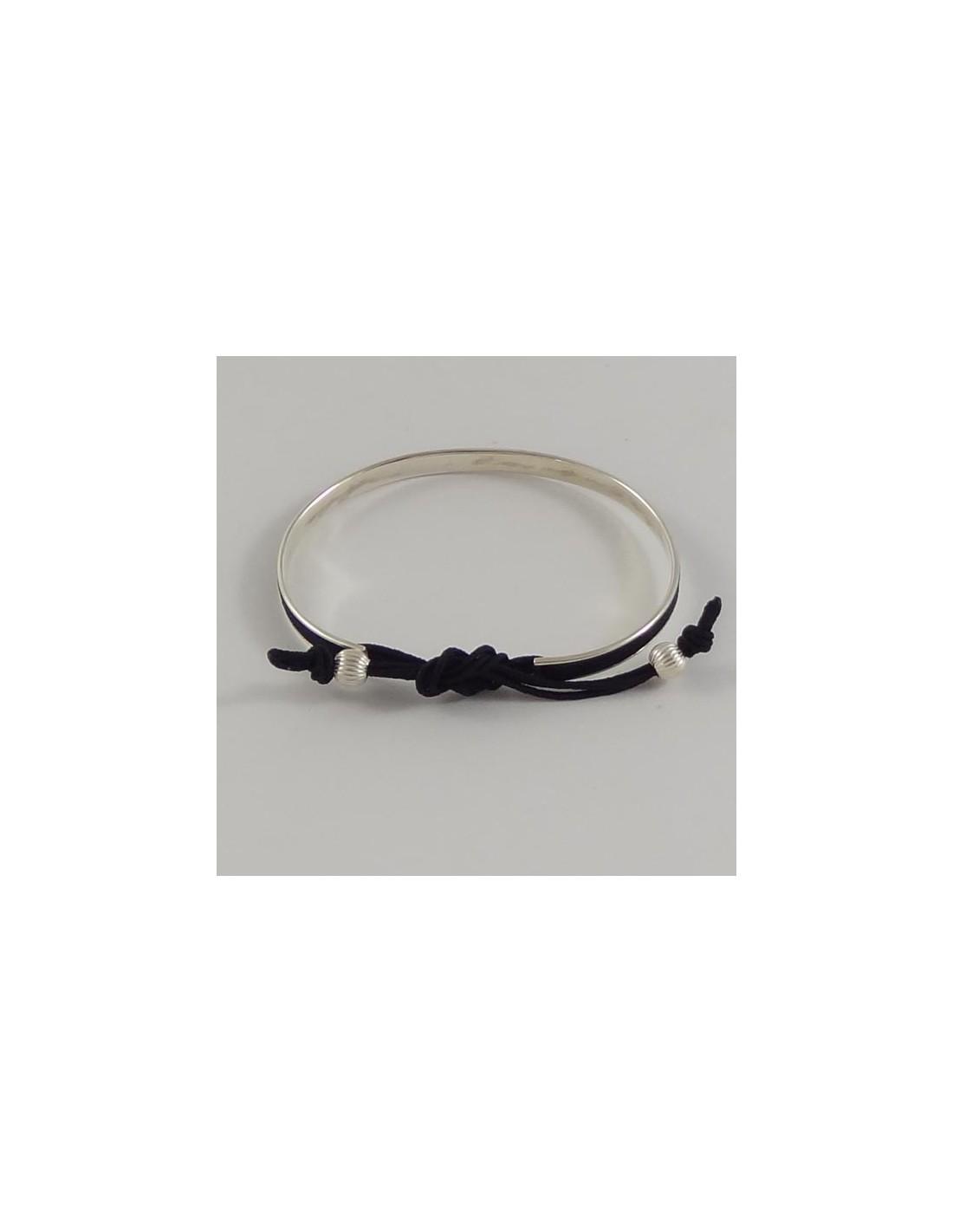 bracelet jonc plat argent cordon 3 fils. Black Bedroom Furniture Sets. Home Design Ideas