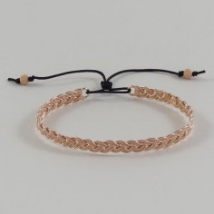 Braided bangle bracelet rose gold plated