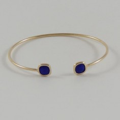 French blue stones bangle bracelet gold plated