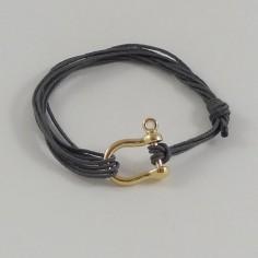Bracelet homme motif manille plaqué or