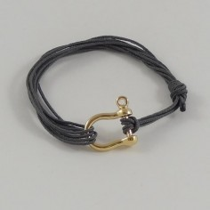 Man gold plated shackle cord bracelet
