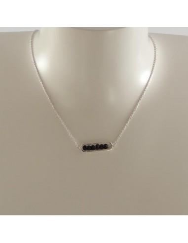 Collier chaine argent maillon mini pierres facetées