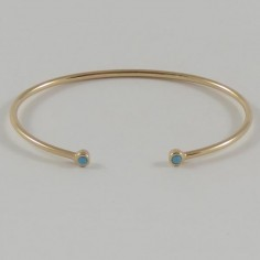 Two small turquoise stones thin bangle gold plated